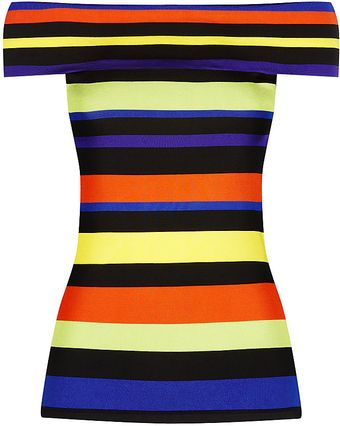 Ralph Lauren Black Label Striped Offtheshoulder Top - Lyst