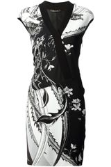 Roberto Cavalli Floral Wrap Dress - Lyst