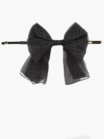 Saint Laurent Black Polka Dot Silk Bow Collar - Lyst