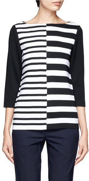 St. John Asymmetric Striped Milano Knit Top - Lyst
