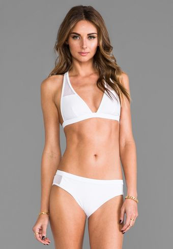 T By Alexander Wang Mesh Combo Halter Top in White - Lyst