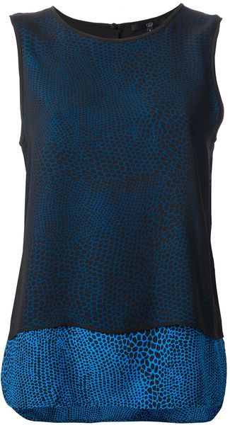 Tibi Patterned Tank Top - Lyst