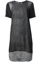 Tibi Sheer Panel Dress - Lyst
