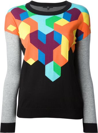 Tibi Geometric Knit Sweater - Lyst