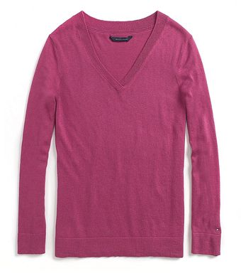 Tommy Hilfiger Solid Long Sleeve V-Neck Sweater - Lyst