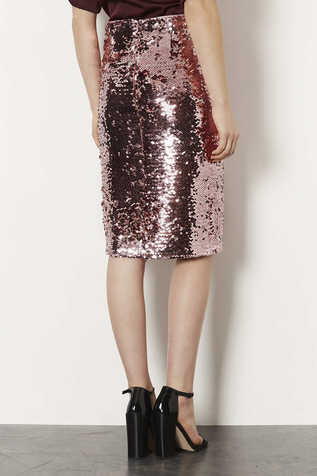 Topshop Pink Sequin Pencil Skirt in Pink | Lyst