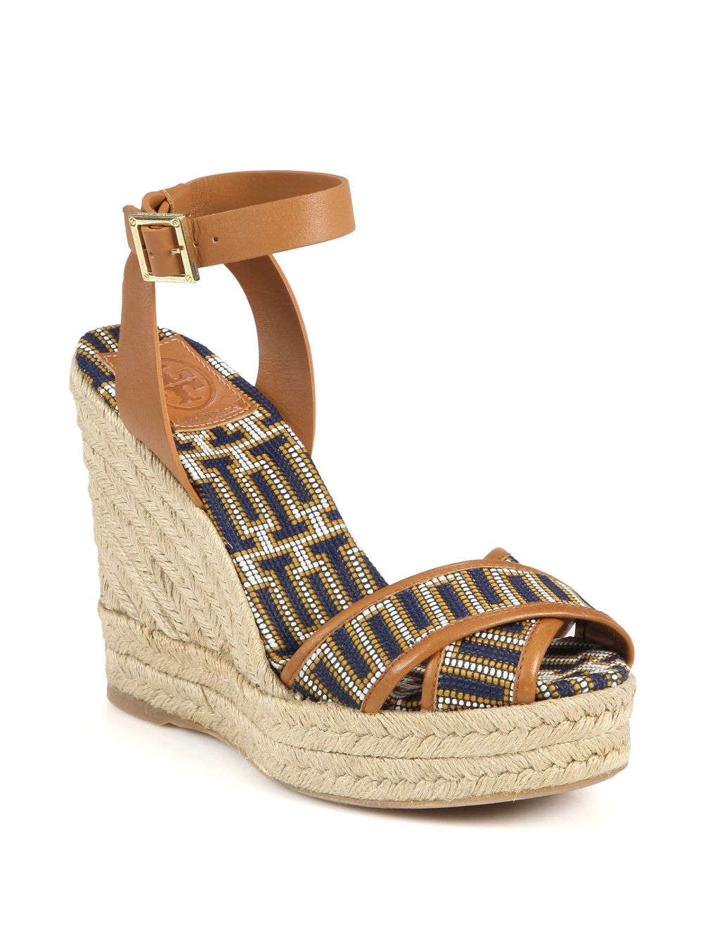 Tory Burch Florian Woven Leather Trim Espadrille Wedge