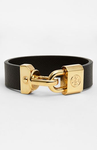 Tory Burch Basics Logo Leather Bracelet - Lyst