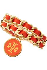 Tory Burch Leather Woven Chain Bracelet Coralgolden - Lyst