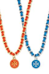 Tory Burch Leather Woven Chain Necklace Coralgolden - Lyst