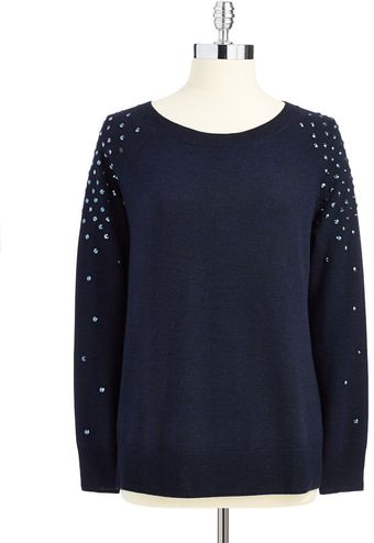 Trina Turk Crew Neck Sweater with Sequin Details - Lyst