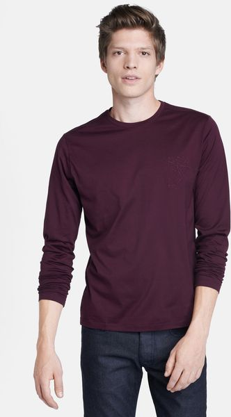 Versace Medusa Embroidered Long Sleeve Crewneck Tshirt - Lyst