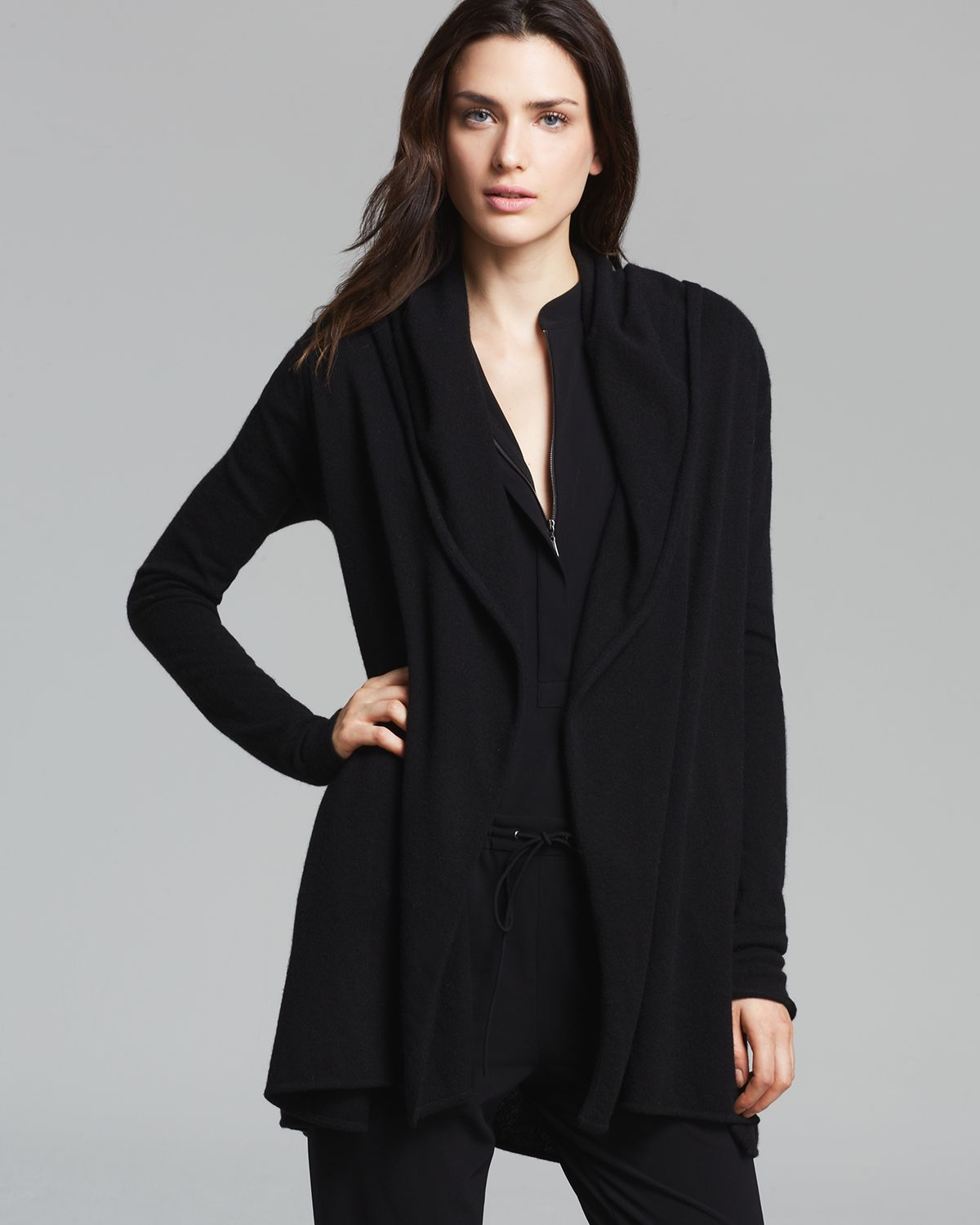 Vince Cardigan Cashmere Luxe Hooded in Black | Lyst
