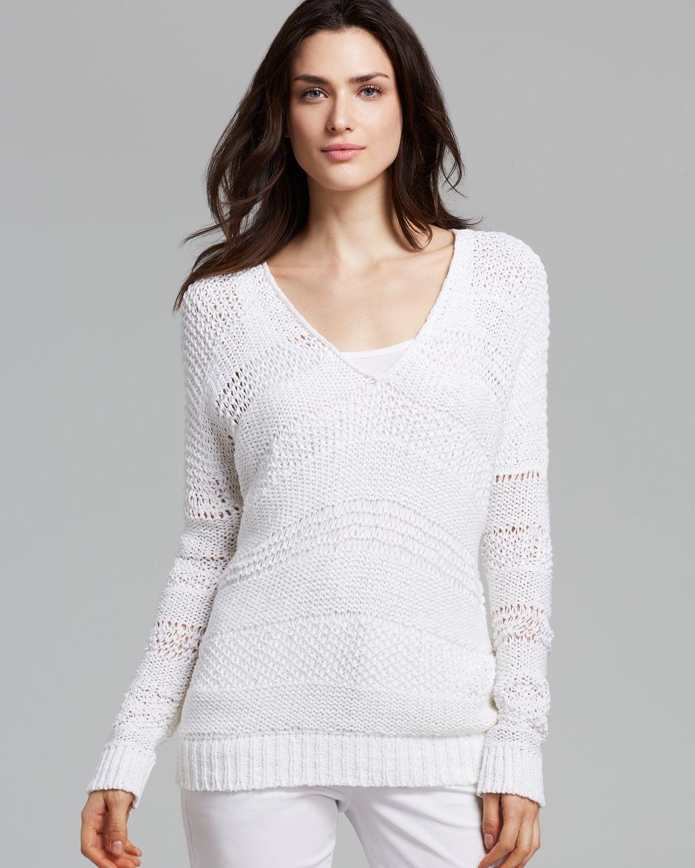 Vince Sweater Open Knit in White | Lyst