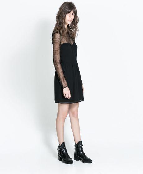 Zara Embroidered Dress In Black Lyst