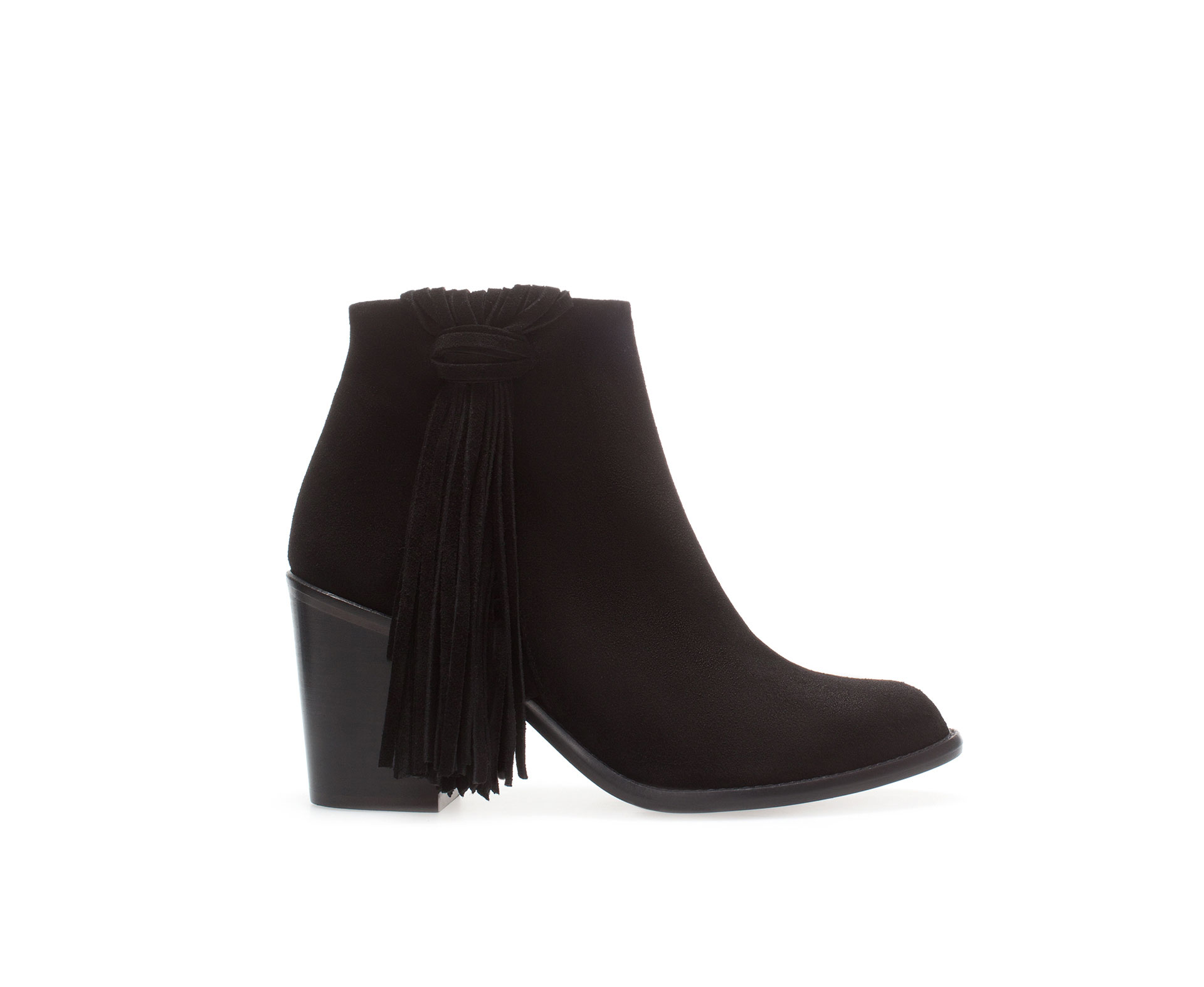 Zara High Heel Leather Ankle Boot with Fringes in Black | Lyst