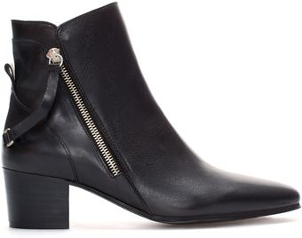 Zara High Heel Leather Ankle Boot with Zips - Lyst
