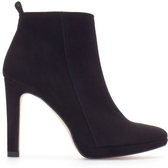 Zara Suede and Leather High Heel Ankle Boot - Lyst