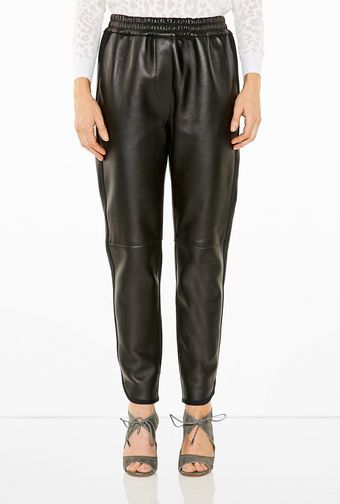 3.1 Phillip Lim Rouched Waist Leather Track Pants - Lyst