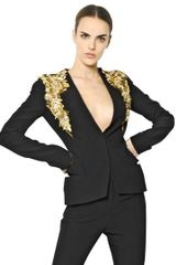 Alexander McQueen Embroidered Viscose Leaf Crepe Jacket - Lyst