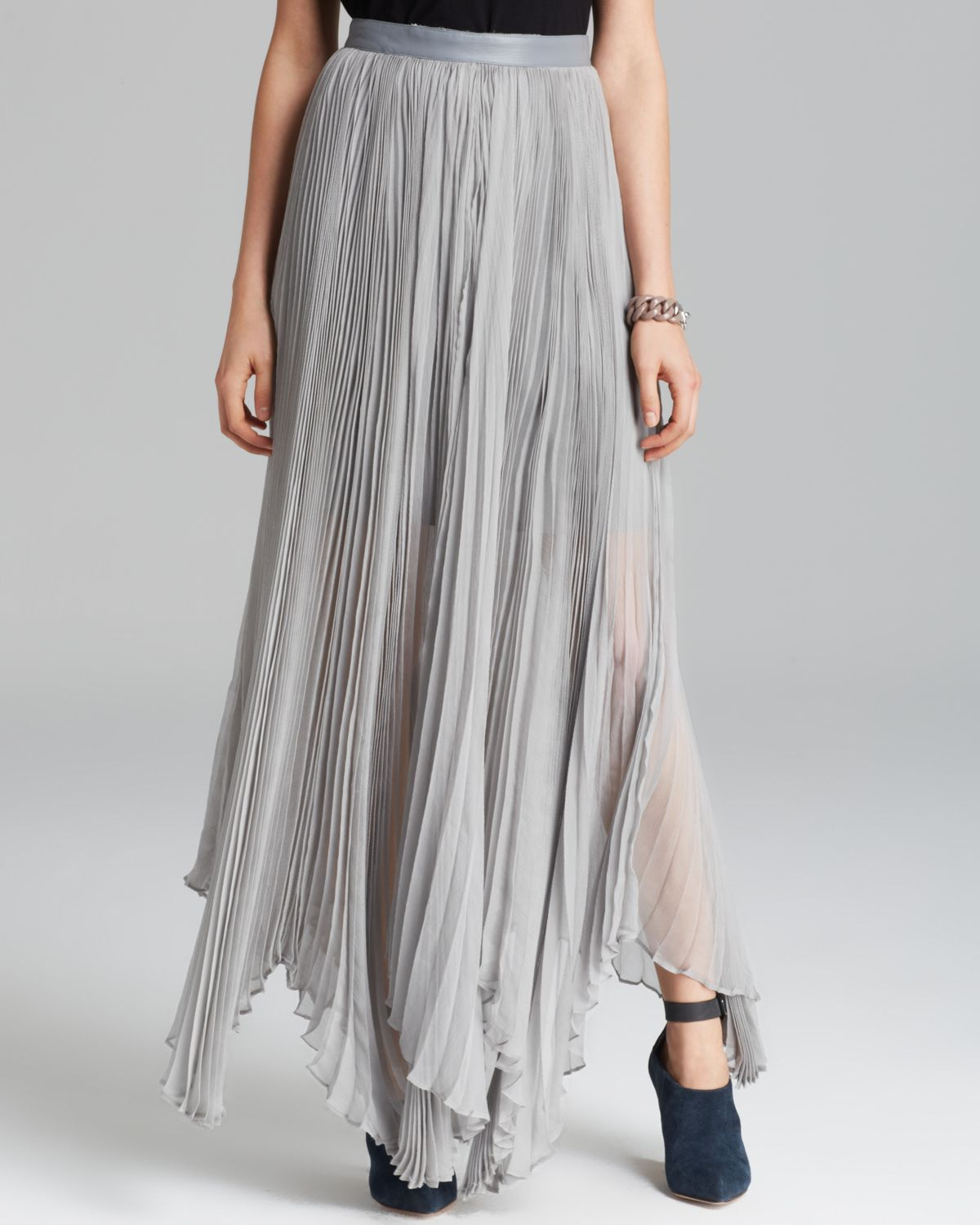 Alice   olivia Maxi Skirt Ava Pleated in Gray | Lyst