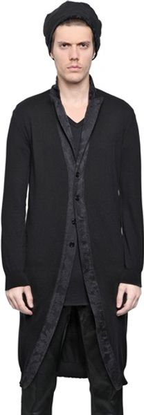 Ann Demeulemeester Cotton Blend Long Knit Cardigan - Lyst