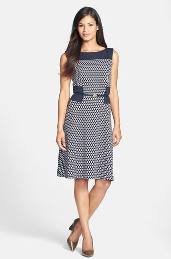 Anne Klein Print Ponte Fit Flare Dress - Lyst