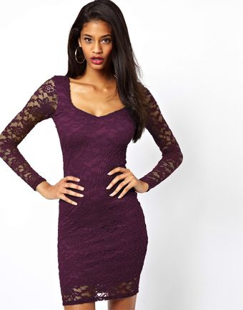 Asos Sweetheart Lace Bodyconscious Mini Dress - Lyst