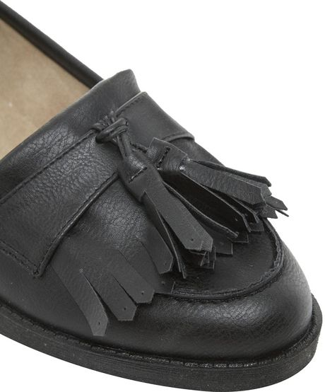 Asos New Look Black Kangaroo Loafer Shoes In Black | Lyst