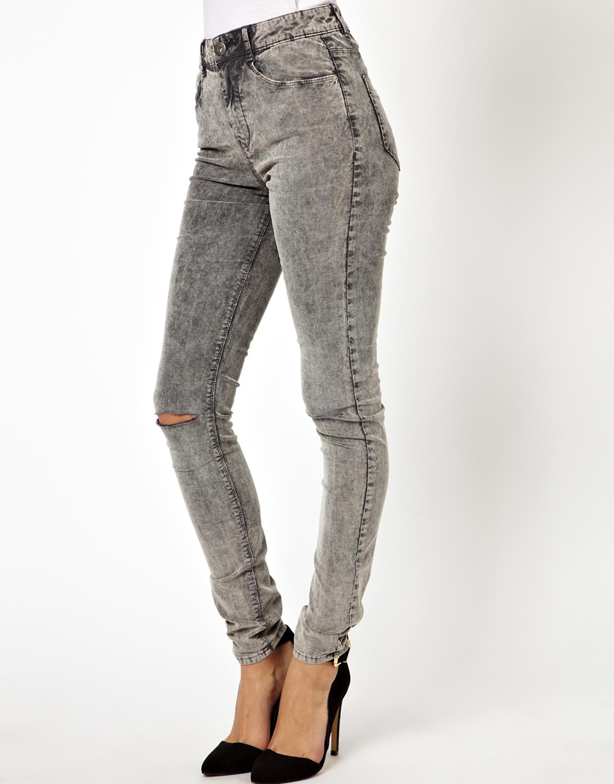 Asos Ridley High Waist Ultra Skinny Jeans In Grey Acid Wash Cord ...