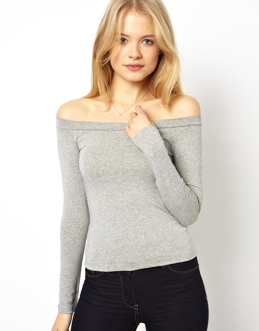 Lyst Asos Top With Off Shoulder In Gray