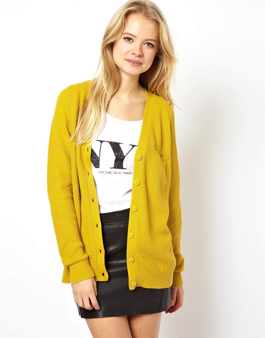 Asos Cardigan with Top Pocket in Yellow   Lyst