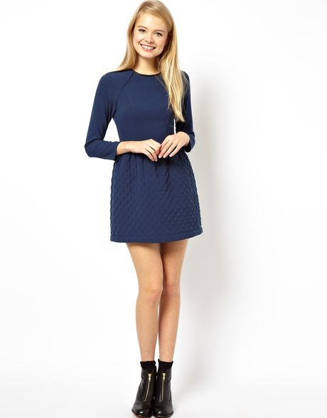 asos skater dress with quilted skirt in blue navy lyst