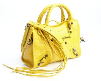 Balenciaga Yellow Distressed Lambskin Convertible Fringed Mini City Satchel - Lyst
