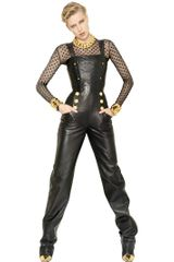 Balmain Nappa Leather Jumpsuit - Lyst
