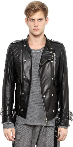 Lot78 Quilted Leather Bomber Jacket in Black for Men (natural) | Lyst