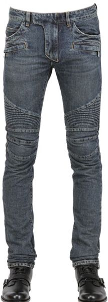 Balmain 18cm Degrade Knee Wash Denim Biker - Lyst