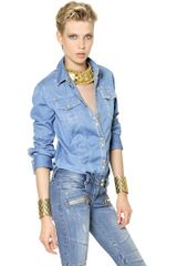 Balmain Bustier Cotton Denim Shirt - Lyst