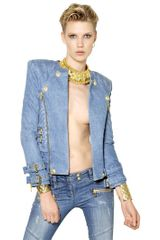 Balmain Cotton Denim Biker Jacket - Lyst