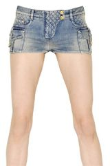 Balmain Stretch Cotton Denim Shorts - Lyst