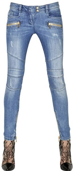 Balmain Washed Stretch Cotton Denim Biker Jeans - Lyst