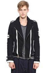 Balmain Cotton Fleece Biker Jacket - Lyst