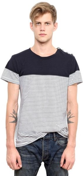 Balmain Cotton Jersey Button Shoulder Tshirt - Lyst