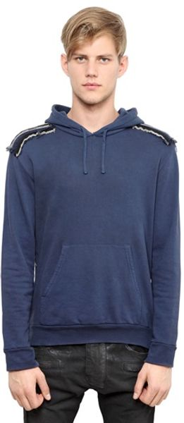 Balmain Embroidered Cotton Fleece Sweatshirt - Lyst