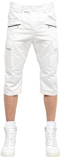 Balmain Cotton Canvas Cargo Shorts - Lyst