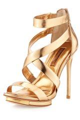 BCBGMAXAZRIA Lemour Cross-Strap Sandal Gold Dust - Lyst