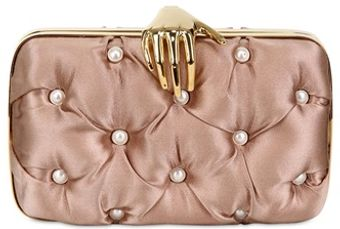 Benedetta Bruzziches Carmen with Hand Pearls Silk Clutch - Lyst