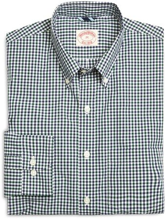Brooks Brothers Green with Navy Check Poplin Sport Shirt - Lyst