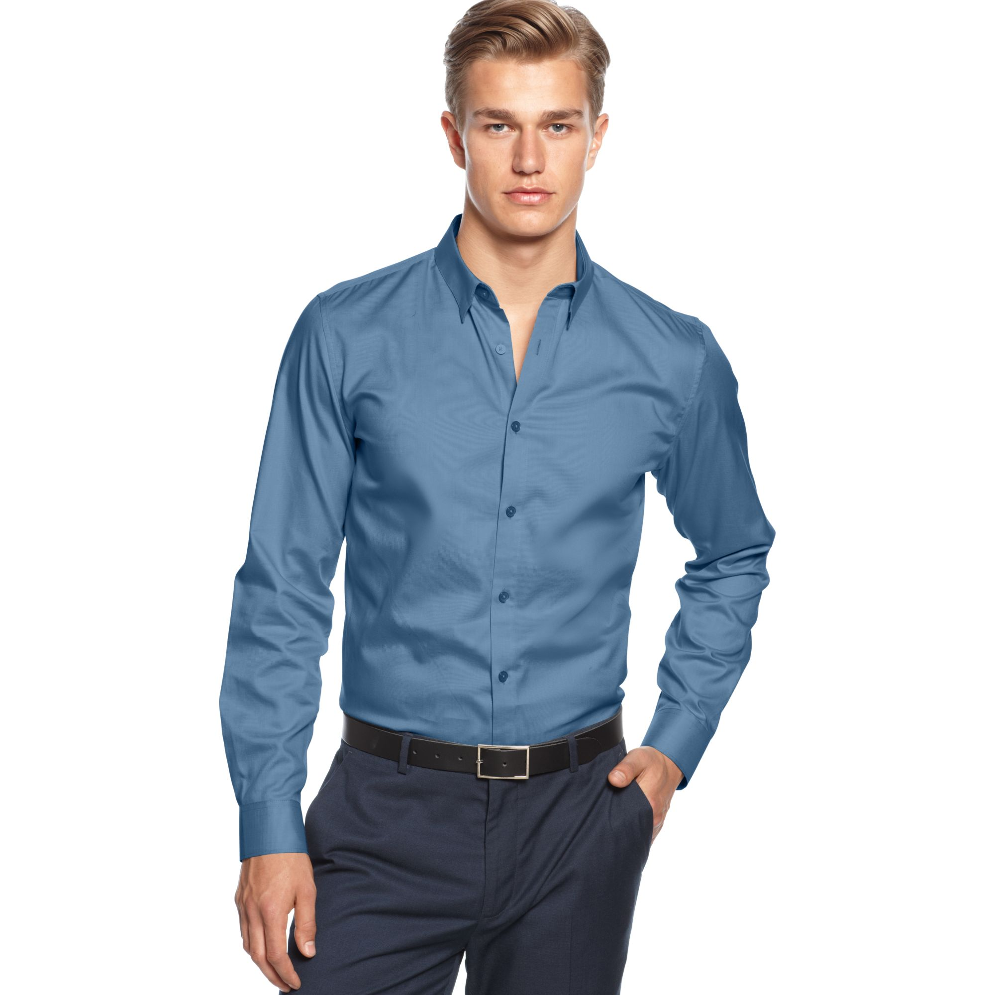 calvin klein long sleeve solid slim fit shirt in blue for. Black Bedroom Furniture Sets. Home Design Ideas