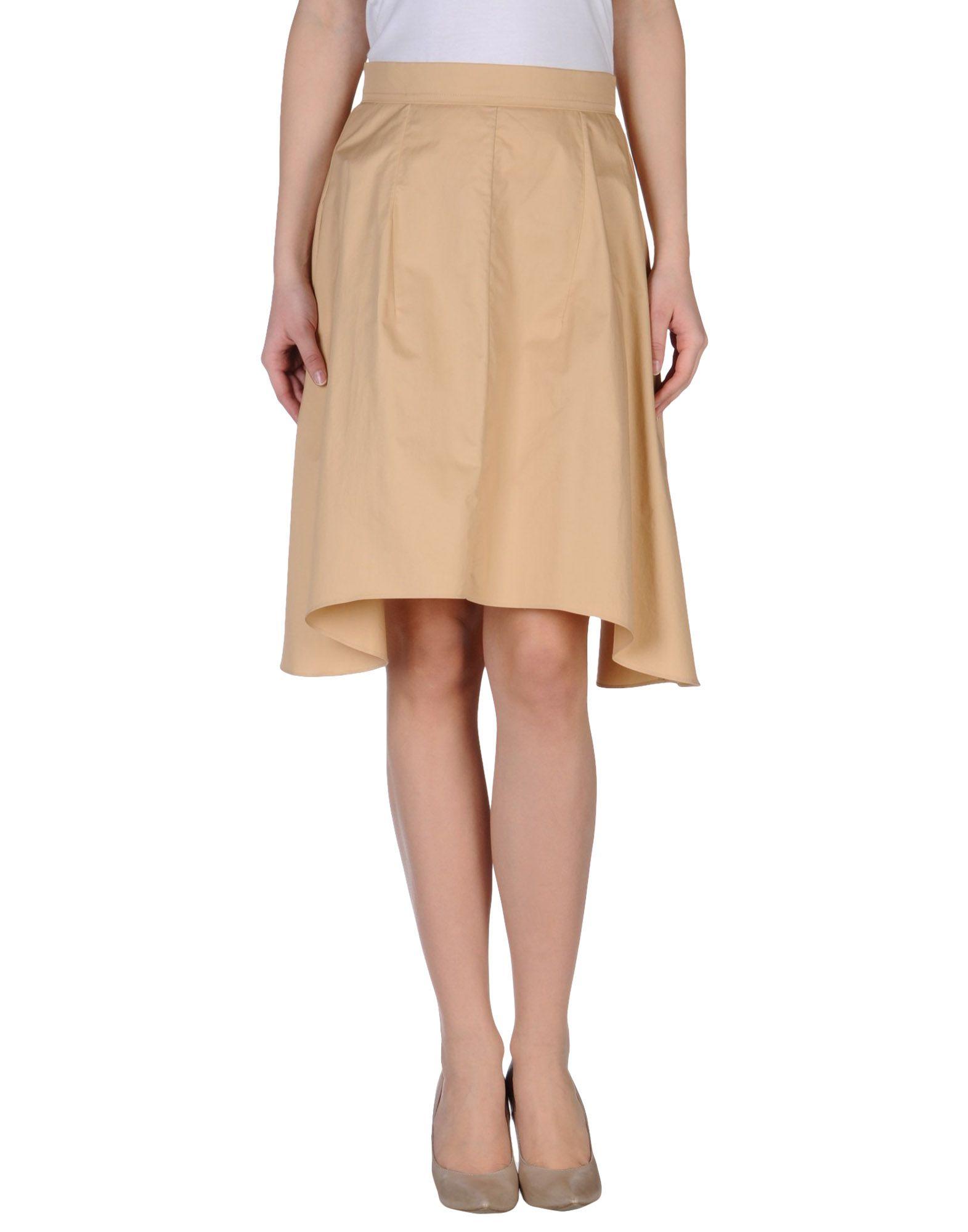 carven knee length skirt in khaki sand lyst
